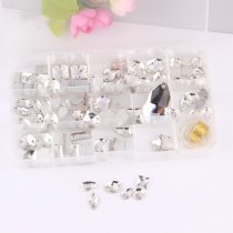 About 99pcs/box Mix 14 Shapes  Hand Sew Drilling Transparent White Glass Rhinestones