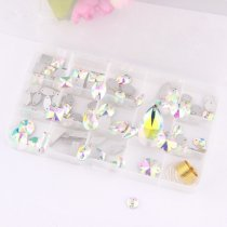 About 99pcs/box Mix 14 Shapes  Hand Sew Drilling White AB Glass Rhinestones