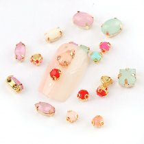 50pcs MIx  Resin Opal Rhinestone Gold Claw Strass Diamond Stones