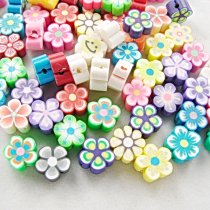 30pcs/lot  8*4mm DIY Jewelry Findings 10mm Polymer Clay Beads Flower Pieces Mix Color Bracelet Accessory Fimo Slices