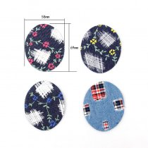3PCS 4Style Flower Jeans Patch Oval Iron On Patches Repair Elbow Knee Denim Patches For Clothes Stickers Clothing Accessories