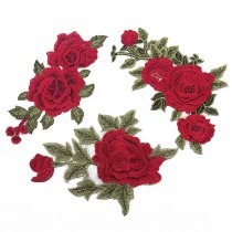 1PCS 3D Flower Patch Clothing Accessories Red Flowers  Embroidery Applique Decoration Accessories Hotfix Jean Patches