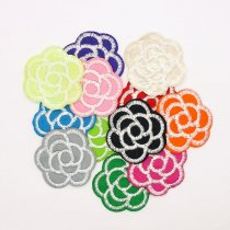 6Pcs Fashion Colorful Rose Flower Shape Embroidered Patch Iron On Patch Sewing Applique Badge Clothes Patch Stickers Apparel