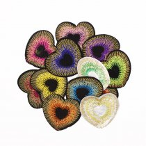 6Pcs Fashion Heart Shape Embroidered Patch Iron On Patch Sewing Applique Badge Clothes Patch Stickers Apparel