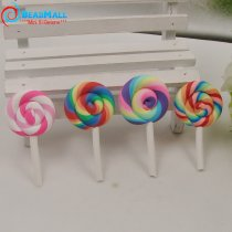 High Quality Beauty 4 colors  Kawaii Spiral Rainbow Lollipop Candy Polymer Clay Cabochons Flatback For DIY Phone Decoration