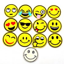 12PCS Dia 5cm DIY Embroidered Emoji Patches Lot Kids Cartoon Motif Patch Smile Face Iron On Applique For Cloth Stickers Hot Sale