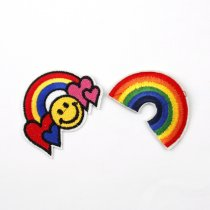 1PCS Embroidered Iron On Patches For Clothes Sewing Rainbow Clothing DIY Motif Applique Sticker For Clothes Badge 45x63mm