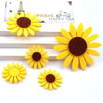 10pcs Lovely Non-woven Fabric Sunflower  Patches Artificial leaf Applique Patches DIY Craft, Nursery Room, Kindergarten Decor
