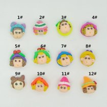 Free shipping Handmade Mulity Style Fimo 12PCS 20*22mm Beauty Handsome Children  Polymer Clay  Fit DIY Hair Supplies
