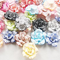 10pcs 25*13mm Colorful Polymer Clay Fimo White Rose Flower Beads With Hole For Diy Women Brooch Necklace Jewelry Clothes Shoes