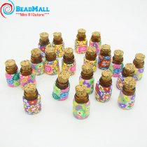 Mix Color Glass Beauty 20PCS 13*23mm Fimo Jewelry Bottle with Cork,Aromatherapy Pendant Essential Oil Bottle,Glass Crafts