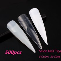 500pcs/pack 10Sizes Salon Design Sharp Shape Nail Art False
