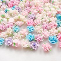 10PCS/lot Multiy Style 12mm Kawaii Polymer Clay Fimo FlowerChunky ResinFlatback Beads Diy Hair Headband