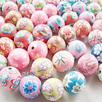 30PCS/Lot 8mm  Mixed Color DIY Soft Fimo Polymer Clay Beads Charms fit for Pandora European Bracelet and Necklace