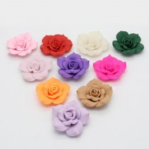 Free shipping 5PCS 40mm Mulity Color  Flat Back Polymer Clay  Fimo Rose Flowers Fit DIY Hair Supplies