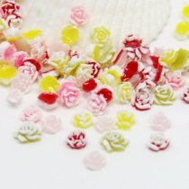 50Pcs 5mm mix color cute Clay Fimo Polymer Tiny Clay flower lovely for nail decoration Accessories DIY Free Shipping