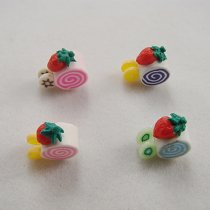 Free Shipping 10Pcs Colorful Loose 3D Polymer Clay Fimo Beads Delicious Cake Design For DIY Jewelry Making