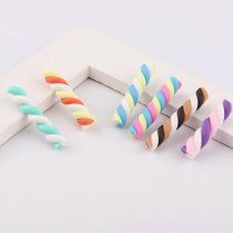 High Quality 6colors 3*22mm 20pcs Kawaii Spiral Lollipop Candy Polymer Clay Cabochons Flatback For DIY Phone Decoration