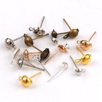 wholesale 4x7mm 200pieces Metal Wave board Posts Earrings Pin Needles Earnuts Ear Pad Plugging Back Stopper Setting DIY Earring Earstud Findings