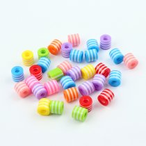 wholesale New Children Handcraft Department Mix Color Cylinder 9x12mm Resin Stripe Beads DIY Bracelet Accessory jewelry Findings