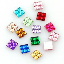 About 1000pcs 4x4mm Nail Art Resin Square Shape Rhinestone