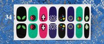 QJ33-44 16Tips  Nail Art Wrap Full Cover Sticker
