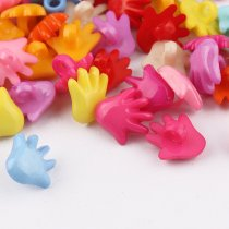 100 pcs 14*14mm Mixed color plastic Hand palm Buttons DIY  Decoration