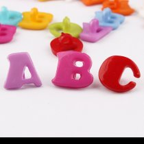 100 pcs 14mm Mixed color plastic ABC Letter Buttons DIY  Decoration