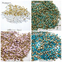 SS8 White/Blue/Green/Pink Opal Point Back Rhinestones