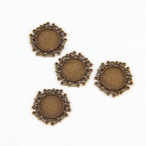 5PCS/lot Antique  Filigree Round Cameo Cabochon Base Setting Pendant Tray(Fit 14*14mm) DIY Jewelry Blanks