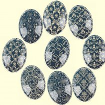 Handmade Glass Mix Size Oval Embroidery Floral Flatback Cameo Cabochon Domed