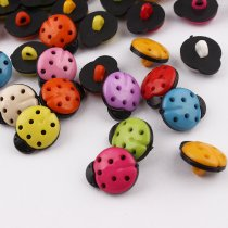 100 pcs 13*16mm black Ladybug plastic Buttons Mixed  Accessories