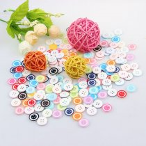 100PCS/lot Colorful Round  2 Holes Diameter Resin Buttons