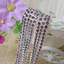 wholesale SS6,SS12 Light Amethyst Purple Silver Base Close Rhinestone Chain For DIY Wedding Dress Beauty Accessories Nail Art