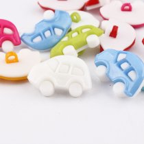 100 pcs  25*16mm Mixed color plastic white Cars Buttons DIY  Decoration