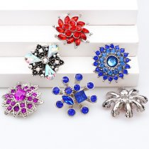 2017 New 6pcs High Quality Crystal Mixed Snow Flower&Sun Glass Metal Snaps buttons DIY Snap Charms Jewelry Bracelet&Bangle