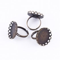 10pcs 12mm Flowers Brass Ring Base Antique Bronze Copper High Quality Ring Setting Cabochon Cameo Base 2016 New Fashion