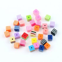 wholesale New Children Handcraft Department Mix Color Square 7x8mm 9x10mm Resin Stripe Beads DIY Bracelet Accessory jewelry Findings