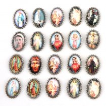 10pcs 28x38mm Oval Glass Cabochons Religion Brooch Silver Zinc Alloy Rosary Charms Pendants DIY Jewelry Saint Rita Accessories