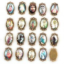 20pcs 15x26mm Oval Glass Cabochons Religion Silver&Gold Zinc Alloy Rosary Charms Pendants DIY Jewelry Saint Rita Accessories