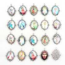 20pcs 30*40mm Silver Zinc Alloy Lace Rosary  Pendants Oval Glass cabochons DIY decorations Religious Rosary saint Raphael 140135