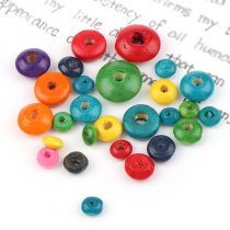 50G Mixed Color Flat Round Wooden Wheel Beads