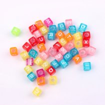 wholesale 6x6.5mm  New Children Handcraft Department Mix Color Alphabet Letter Square Resin Beads Cube DIY Bracelet Accessory jewelry Findings