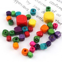 50G Mixed Color Square Cube Wood Spacer Beads