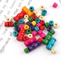 50G Mixed Color Bamboo Tube Shape&double layers Wood Spacer Beads