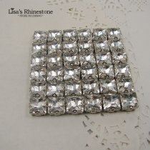 11mm 36pcs Clear Crystal Square Sew On GLASS Rhinestone With Silver Claw Setting,Claw Rhinestones,Jewelry Findings