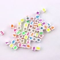 wholesale 6x6mm New Children Handcraft Department Number Heart Square Spacer Resin Beads Cube DIY Bracelet Accessory jewelry Findings