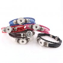 New 1 Piece Interchangable Rope Leather Braided Fit 18mm Snap Buttons Vintage Bracelet DIY Jewelry Charm Braceletst&Bangles