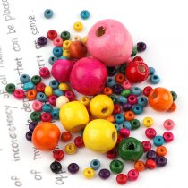 50G Mixed Color Round Ball Wood Spacer Beads DIY Handmade