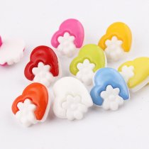 100pcs 15*14mm Mix color Kawaii Plastic Resin Buttons